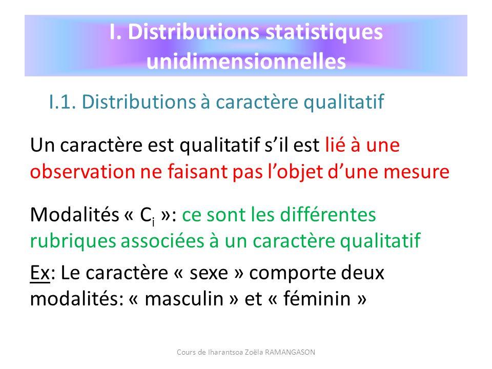 I. Distributions statistiques unidimensionnelles I.1. Distributions à caractère qualitatif Un caractère est qualitatif sil est lié à une observation n