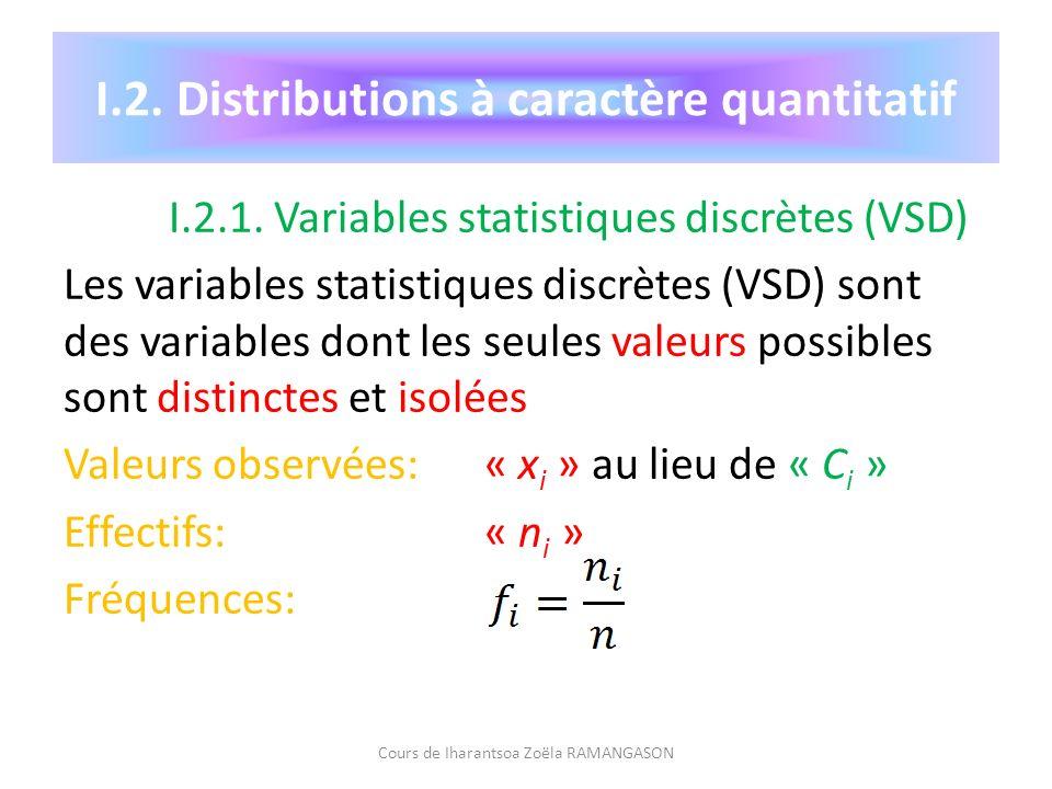 I.2. Distributions à caractère quantitatif I.2.1. Variables statistiques discrètes (VSD) Les variables statistiques discrètes (VSD) sont des variables