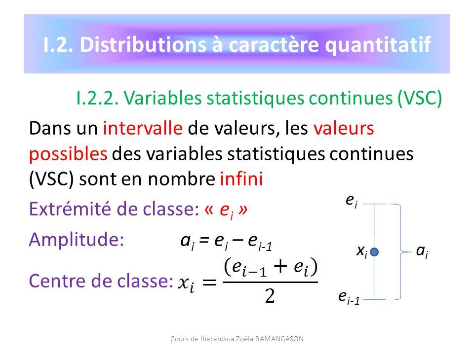 I.2. Distributions à caractère quantitatif I.2.2. Variables statistiques continues (VSC) Dans un intervalle de valeurs, les valeurs possibles des vari