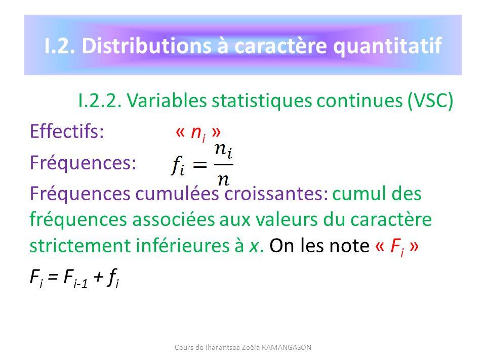 I.2. Distributions à caractère quantitatif I.2.2. Variables statistiques continues (VSC) Effectifs: « n i » Fréquences: Fréquences cumulées croissante