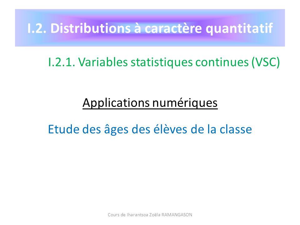 I.2. Distributions à caractère quantitatif I.2.1. Variables statistiques continues (VSC) Applications numériques Etude des âges des élèves de la class