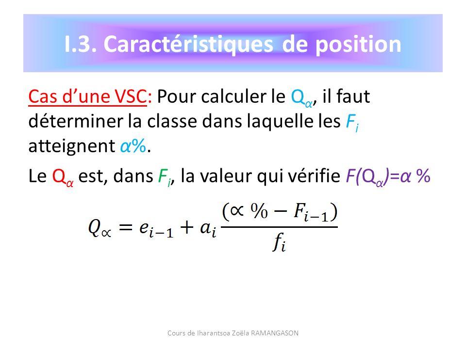 Cas dune VSC: Pour calculer le Q α, il faut déterminer la classe dans laquelle les F i atteignent α%. Le Q α est, dans F i, la valeur qui vérifie F(Q