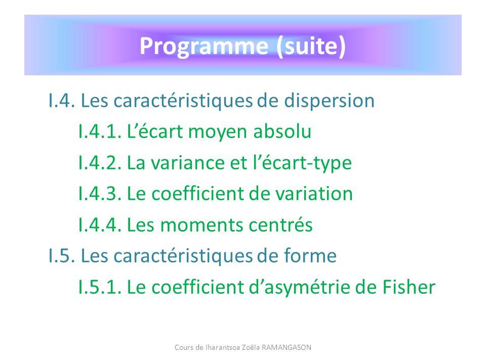 I.4. Les caractéristiques de dispersion I.4.1. Lécart moyen absolu I.4.2. La variance et lécart-type I.4.3. Le coefficient de variation I.4.4. Les mom