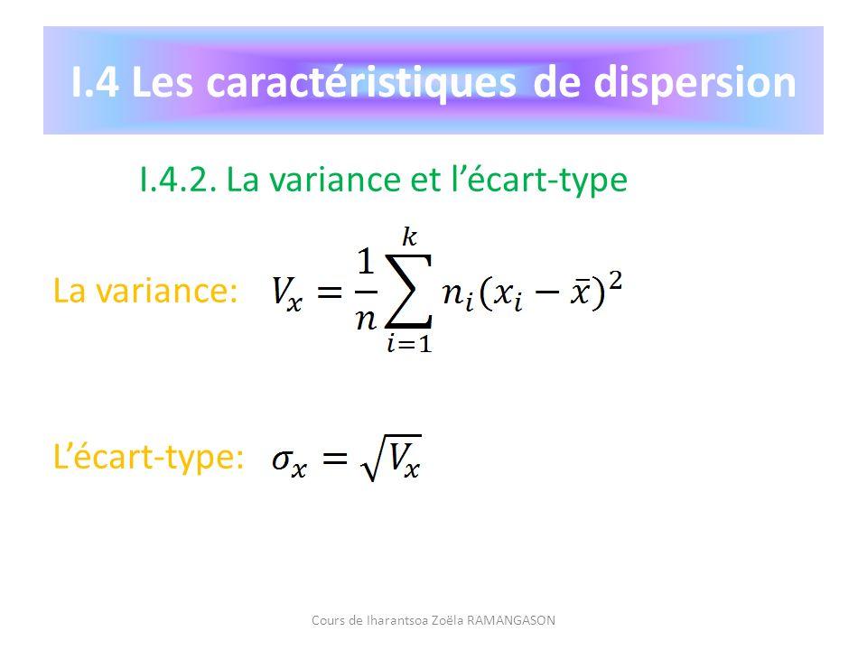 I.4.2. La variance et lécart-type La variance: Lécart-type: Cours de Iharantsoa Zoëla RAMANGASON I.4 Les caractéristiques de dispersion