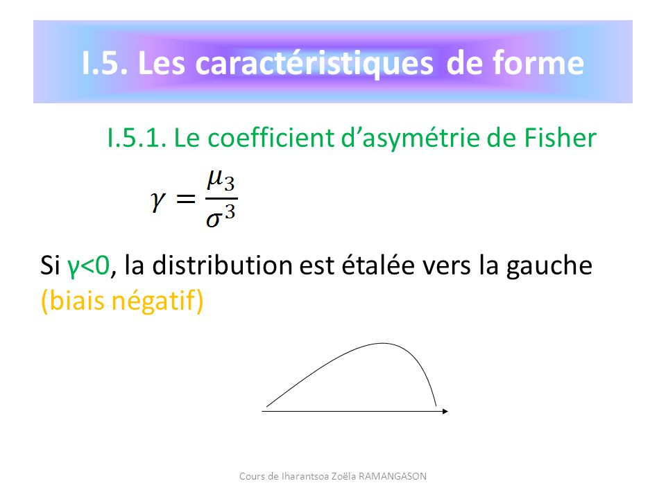 I.5.1. Le coefficient dasymétrie de Fisher Si γ<0, la distribution est étalée vers la gauche (biais négatif) Cours de Iharantsoa Zoëla RAMANGASON I.5.
