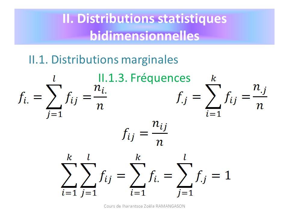 II.1. Distributions marginales II.1.3. Fréquences Cours de Iharantsoa Zoëla RAMANGASON II. Distributions statistiques bidimensionnelles