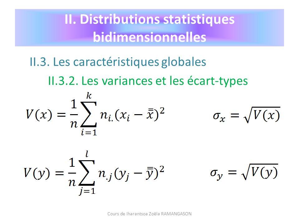 II.3. Les caractéristiques globales II.3.2. Les variances et les écart-types Cours de Iharantsoa Zoëla RAMANGASON II. Distributions statistiques bidim