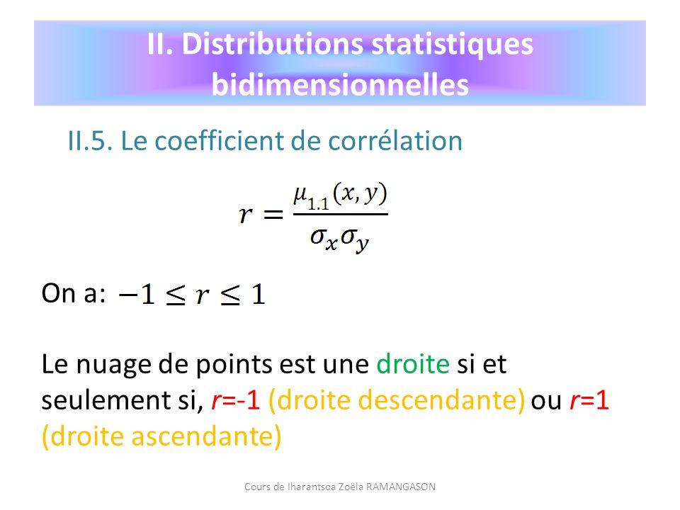 II.5. Le coefficient de corrélation On a: Le nuage de points est une droite si et seulement si, r=-1 (droite descendante) ou r=1 (droite ascendante) C