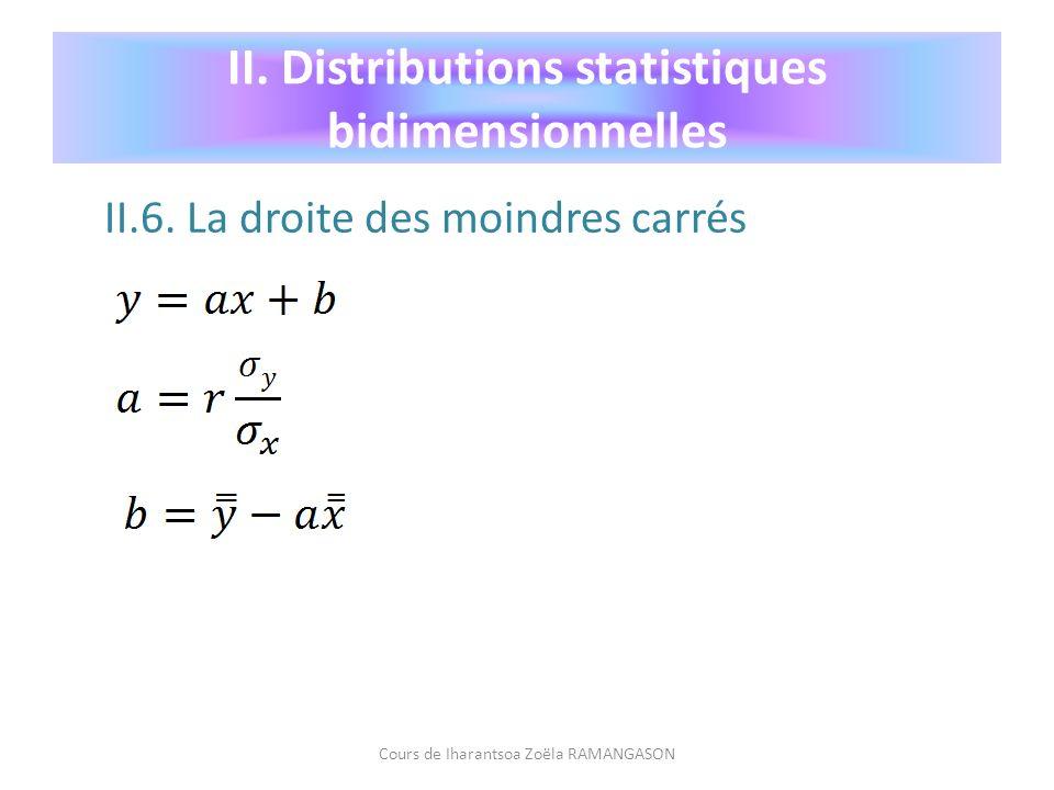 II.6. La droite des moindres carrés Cours de Iharantsoa Zoëla RAMANGASON II. Distributions statistiques bidimensionnelles