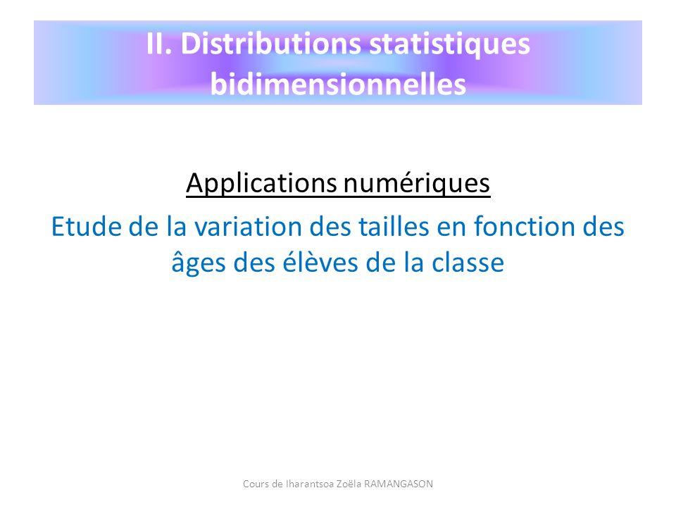 Applications numériques Etude de la variation des tailles en fonction des âges des élèves de la classe Cours de Iharantsoa Zoëla RAMANGASON II. Distri