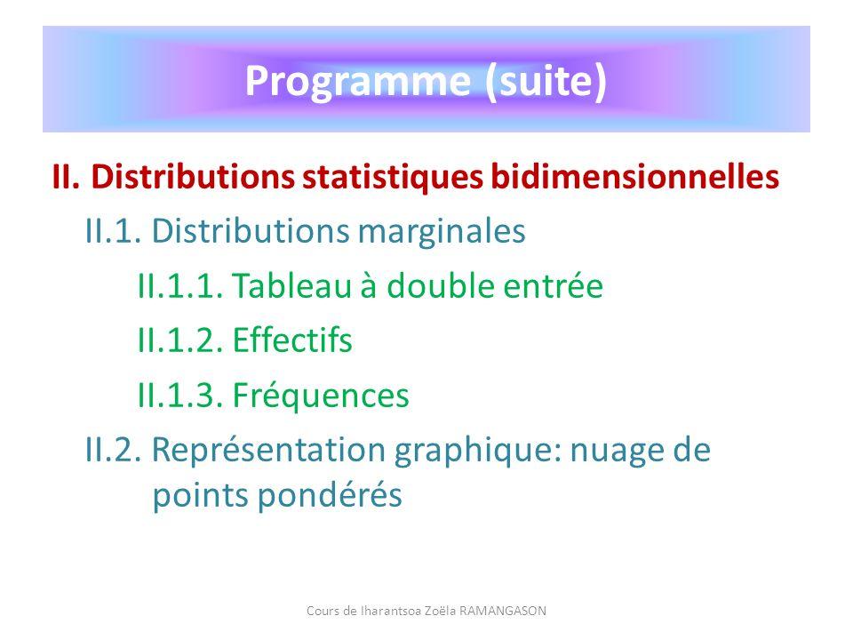 II. Distributions statistiques bidimensionnelles II.1. Distributions marginales II.1.1. Tableau à double entrée II.1.2. Effectifs II.1.3. Fréquences I