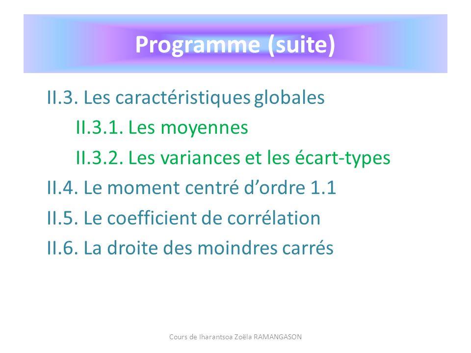 II.3. Les caractéristiques globales II.3.1. Les moyennes II.3.2. Les variances et les écart-types II.4. Le moment centré dordre 1.1 II.5. Le coefficie