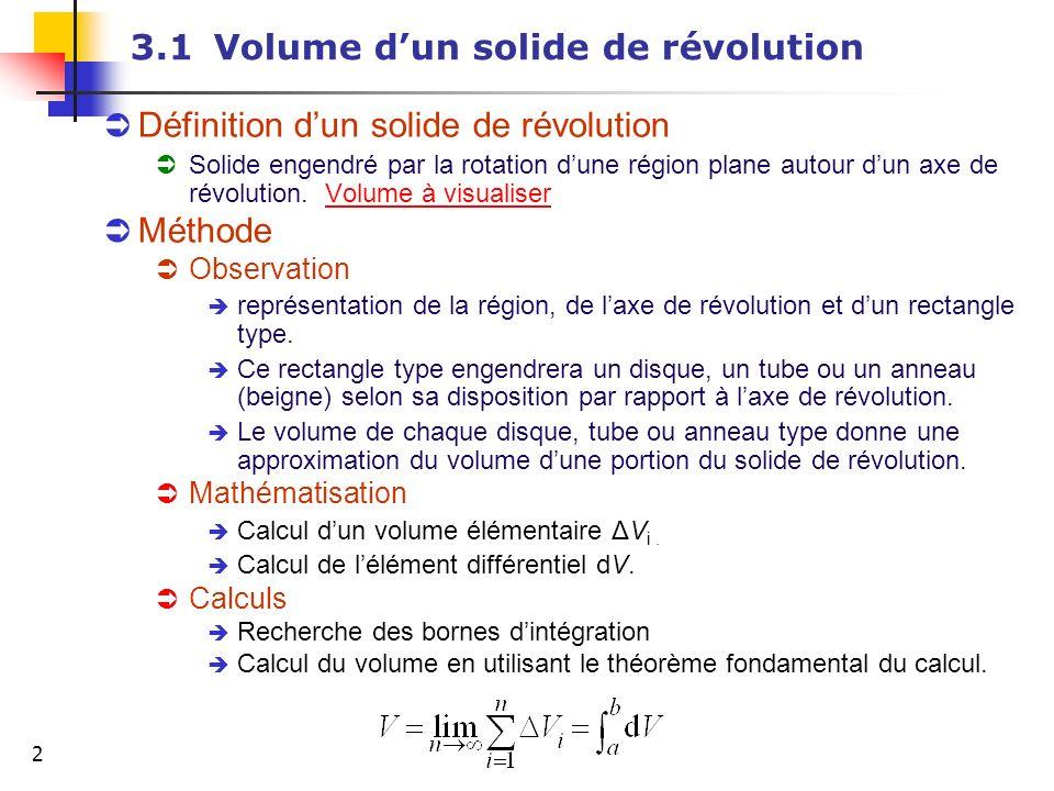 2 3.1Volume dun solide de révolution Définition dun solide de révolution Solide engendré par la rotation dune région plane autour dun axe de révolutio