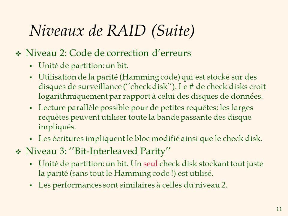 11 Niveaux de RAID (Suite) Niveau 2: Code de correction derreurs Unité de partition: un bit.
