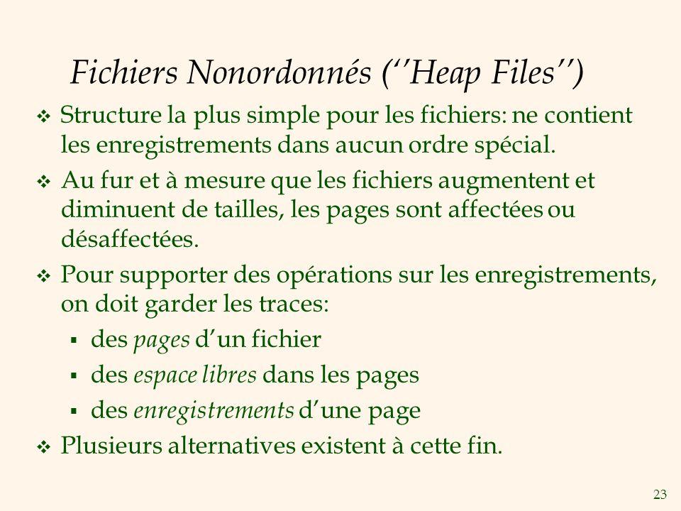 23 Fichiers Nonordonnés (Heap Files) Structure la plus simple pour les fichiers: ne contient les enregistrements dans aucun ordre spécial.