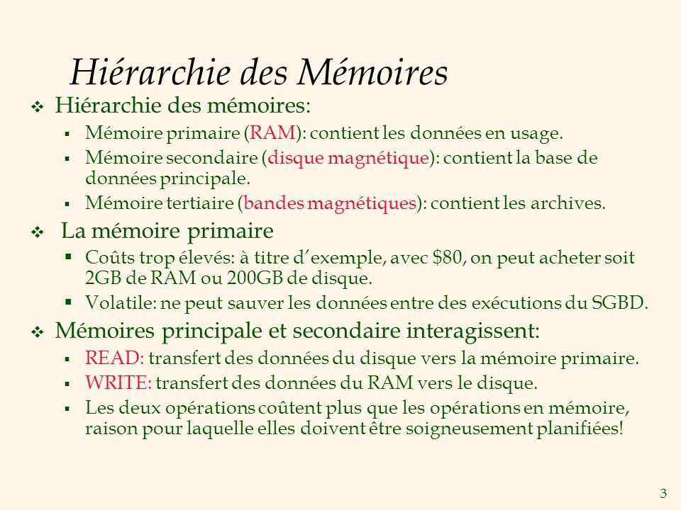 3 Hiérarchie des Mémoires Hiérarchie des mémoires: Mémoire primaire (RAM): contient les données en usage.