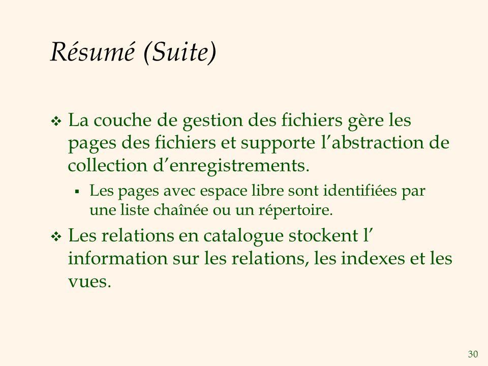 30 Résumé (Suite) La couche de gestion des fichiers gère les pages des fichiers et supporte labstraction de collection denregistrements.