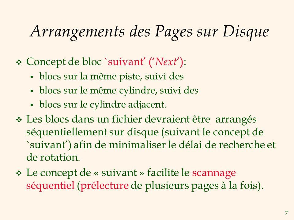 7 Arrangements des Pages sur Disque Concept de bloc `suivant ( Next ): blocs sur la même piste, suivi des blocs sur le même cylindre, suivi des blocs sur le cylindre adjacent.