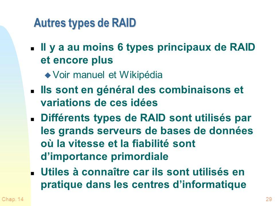 Autres types de RAID n Il y a au moins 6 types principaux de RAID et encore plus u Voir manuel et Wikipédia n Ils sont en général des combinaisons et variations de ces idées n Différents types de RAID sont utilisés par les grands serveurs de bases de données où la vitesse et la fiabilité sont dimportance primordiale n Utiles à connaître car ils sont utilisés en pratique dans les centres dinformatique Chap.