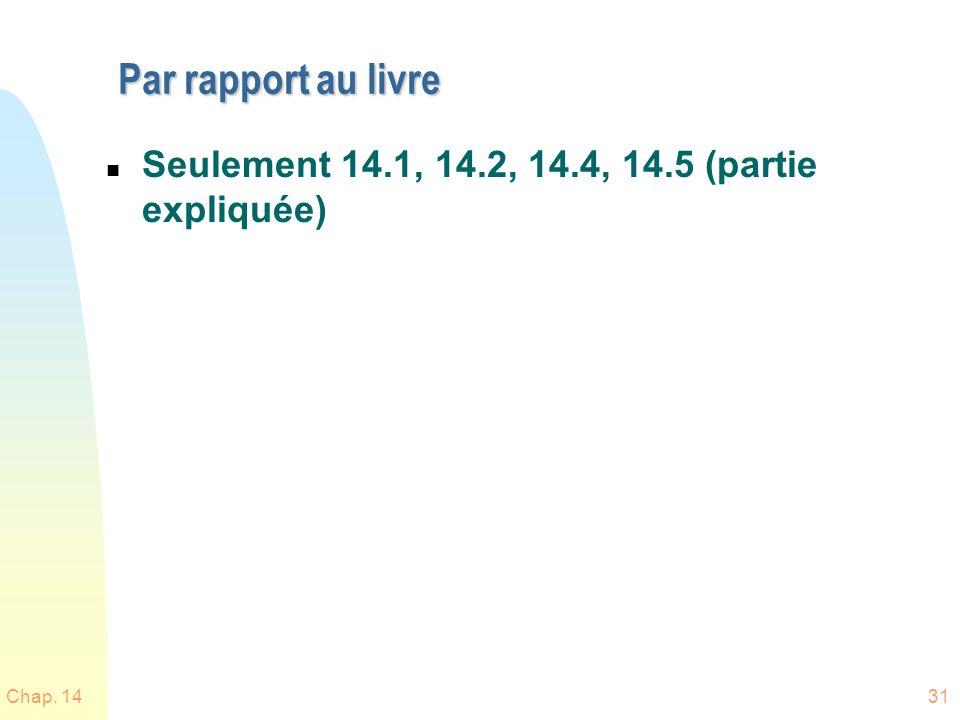Chap. 1431 Par rapport au livre n Seulement 14.1, 14.2, 14.4, 14.5 (partie expliquée)