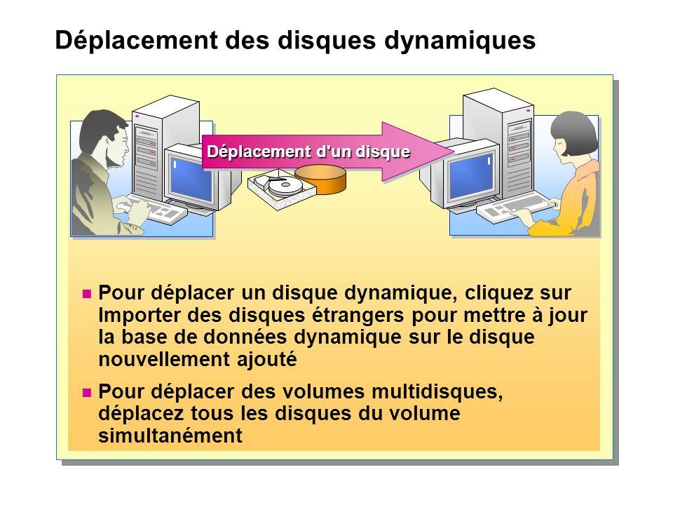 Déplacement des disques dynamiques Pour déplacer un disque dynamique, cliquez sur Importer des disques étrangers pour mettre à jour la base de données dynamique sur le disque nouvellement ajouté Pour déplacer des volumes multidisques, déplacez tous les disques du volume simultanément Déplacement d un disque