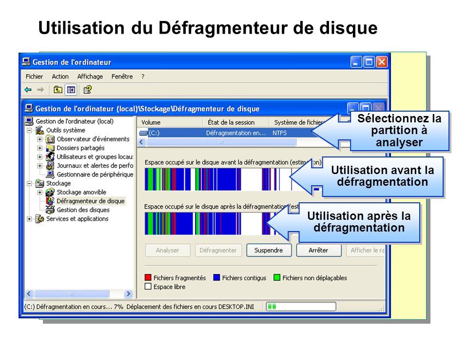 Utilisation du Défragmenteur de disque Sélectionnez la partition à analyser Utilisation après la défragmentation Utilisation avant la défragmentation