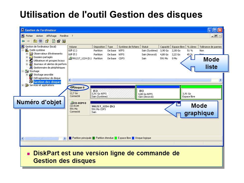 Utilisation de l outil Gestion des disques DiskPart est une version ligne de commande de Gestion des disques Mode liste Numéro d objet Mode graphique Gestion des disques