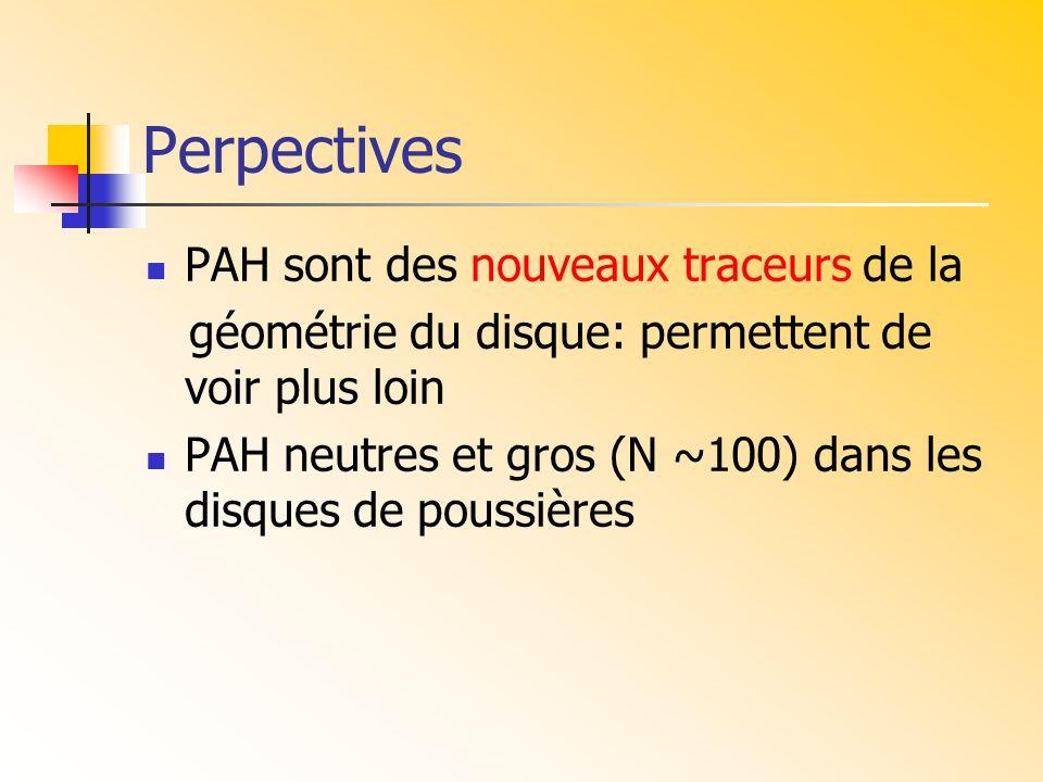 Perpectives PAH sont des nouveaux traceurs de la géométrie du disque: permettent de voir plus loin PAH neutres et gros (N ~100) dans les disques de po