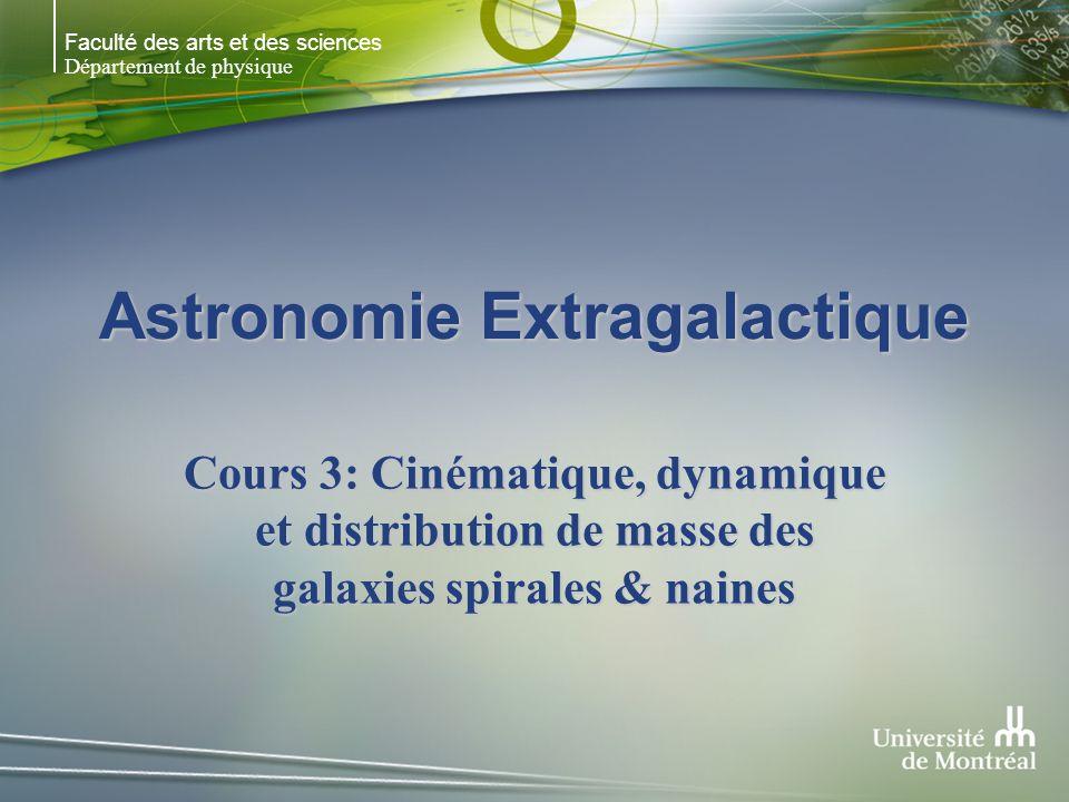 Faculté des arts et des sciences Département de physique Astronomie Extragalactique Cours 3: Cinématique, dynamique et distribution de masse des galaxies spirales & naines
