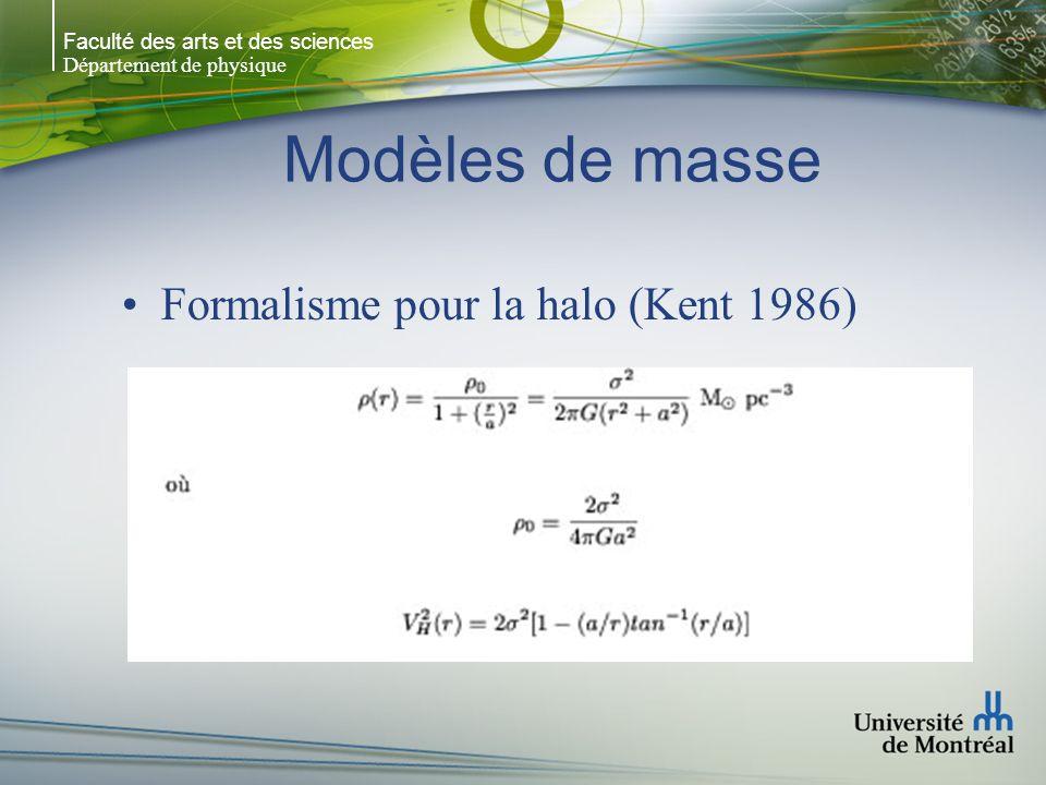Faculté des arts et des sciences Département de physique Modèles de masse Formalisme pour la halo (Kent 1986)