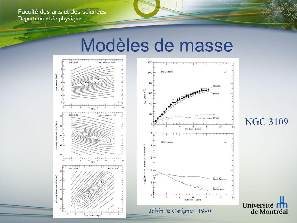 Faculté des arts et des sciences Département de physique Modèles de masse NGC 3109 Jobin & Carignan 1990