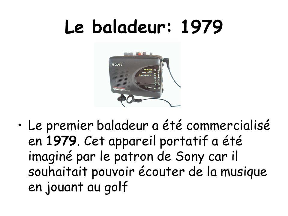 Le baladeur: 1979 Le premier baladeur a été commercialisé en 1979. Cet appareil portatif a été imaginé par le patron de Sony car il souhaitait pouvoir