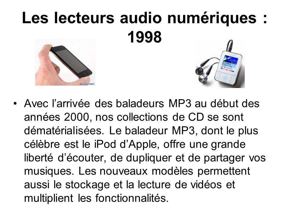 Les lecteurs audio numériques : 1998 Avec larrivée des baladeurs MP3 au début des années 2000, nos collections de CD se sont dématérialisées. Le balad