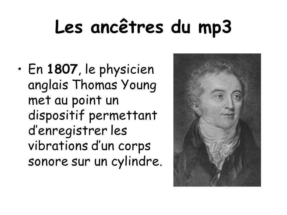 En 1807, le physicien anglais Thomas Young met au point un dispositif permettant denregistrer les vibrations dun corps sonore sur un cylindre.