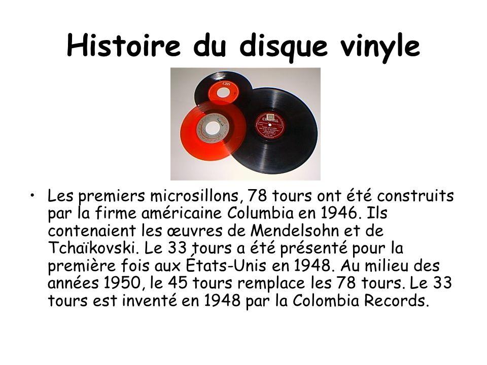Histoire du disque vinyle Les premiers microsillons, 78 tours ont été construits par la firme américaine Columbia en 1946. Ils contenaient les œuvres
