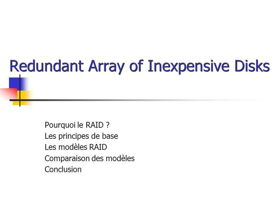 Redundant Array of Inexpensive Disks Pourquoi le RAID ? Les principes de base Les modèles RAID Comparaison des modèles Conclusion