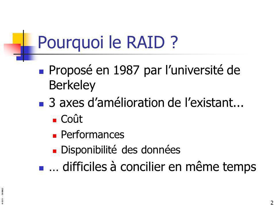© BBY – 19/10/02 2 Pourquoi le RAID ? Proposé en 1987 par luniversité de Berkeley 3 axes damélioration de lexistant... Coût Performances Disponibilité