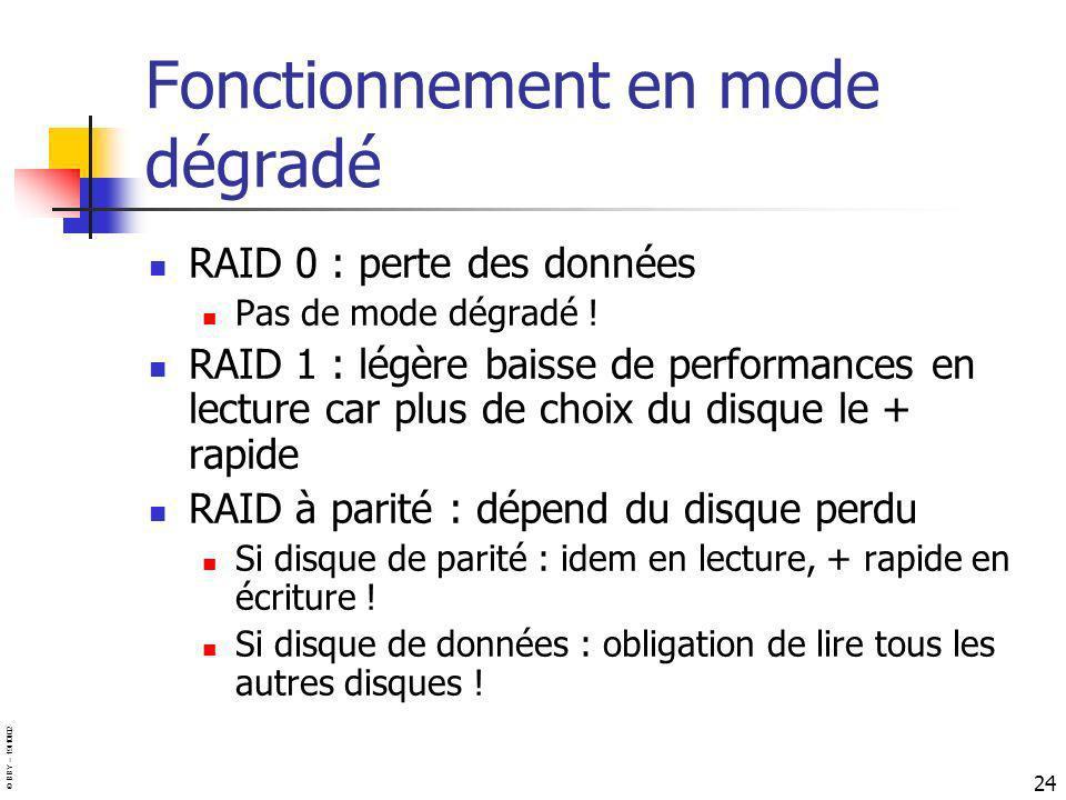 © BBY – 19/10/02 24 Fonctionnement en mode dégradé RAID 0 : perte des données Pas de mode dégradé ! RAID 1 : légère baisse de performances en lecture