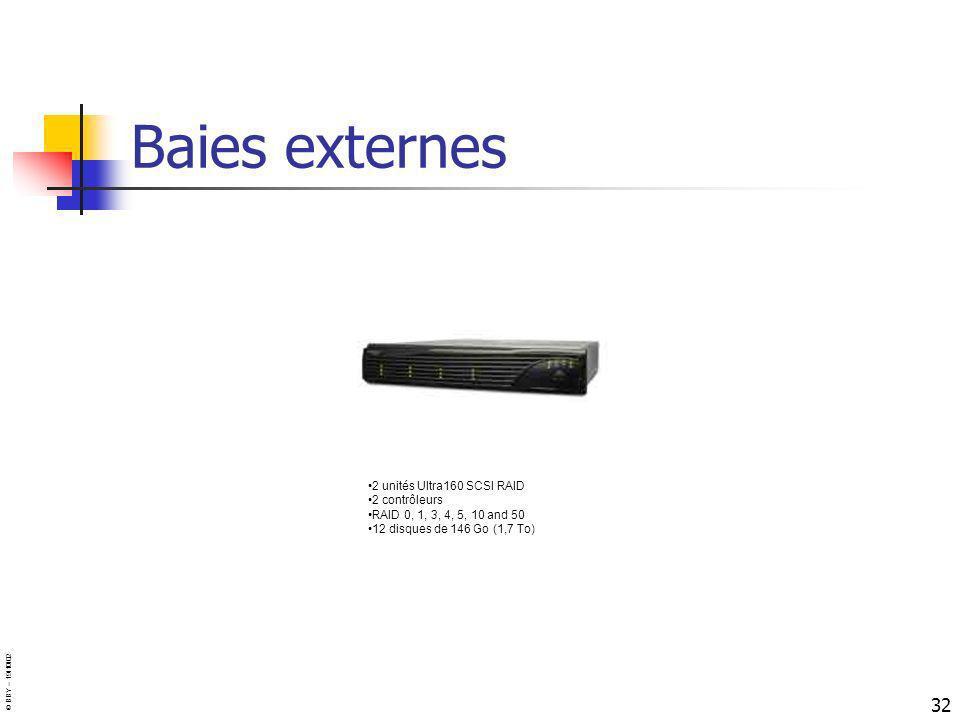 © BBY – 19/10/02 32 2 unités Ultra160 SCSI RAID 2 contrôleurs RAID 0, 1, 3, 4, 5, 10 and 50 12 disques de 146 Go (1,7 To) Baies externes