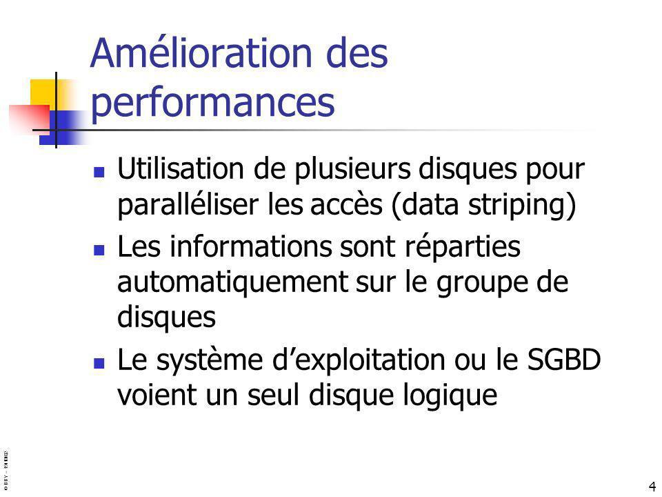 © BBY – 19/10/02 4 Amélioration des performances Utilisation de plusieurs disques pour paralléliser les accès (data striping) Les informations sont ré