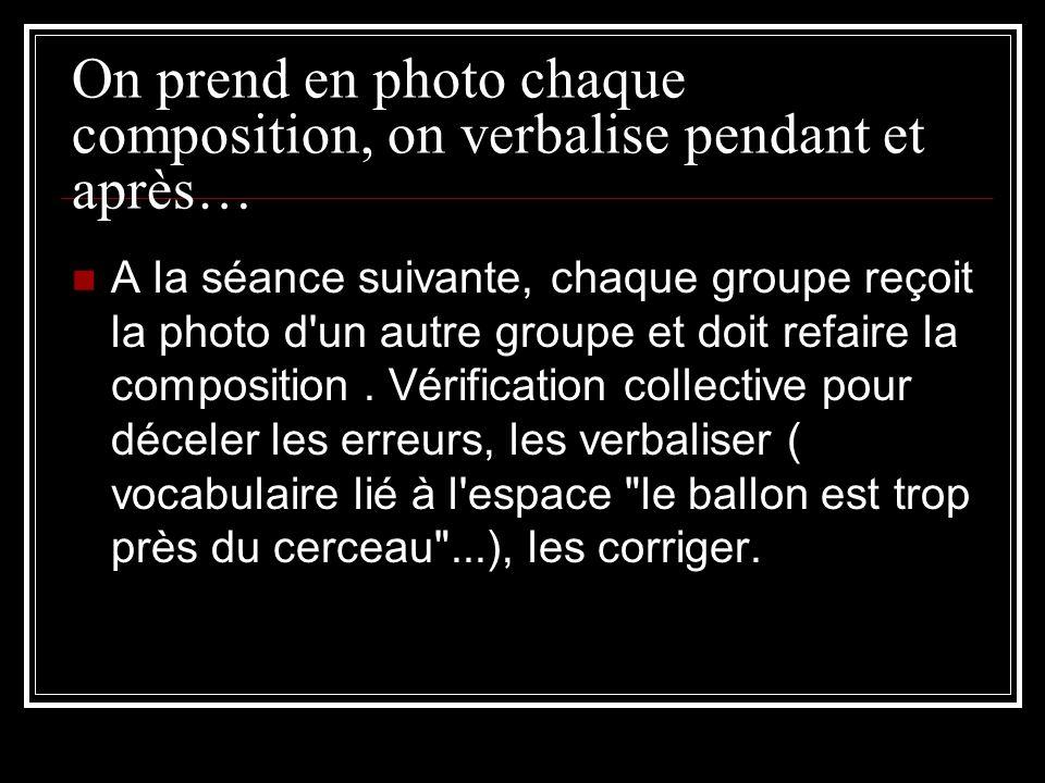 On prend en photo chaque composition, on verbalise pendant et après… A la séance suivante, chaque groupe reçoit la photo d un autre groupe et doit refaire la composition.