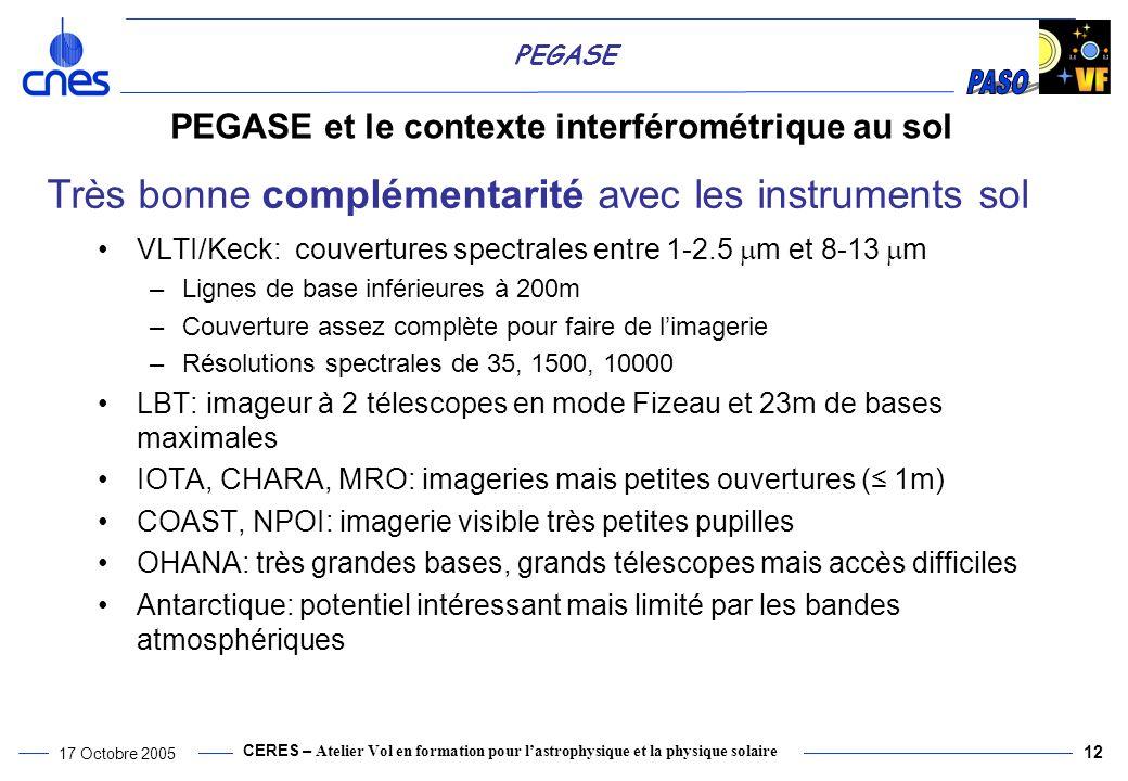 CERES – Atelier Vol en formation pour lastrophysique et la physique solaire 17 Octobre 2005 12 PEGASE PEGASE et le contexte interférométrique au sol VLTI/Keck: couvertures spectrales entre 1-2.5 m et 8-13 m –Lignes de base inférieures à 200m –Couverture assez complète pour faire de limagerie –Résolutions spectrales de 35, 1500, 10000 LBT: imageur à 2 télescopes en mode Fizeau et 23m de bases maximales IOTA, CHARA, MRO: imageries mais petites ouvertures ( 1m) COAST, NPOI: imagerie visible très petites pupilles OHANA: très grandes bases, grands télescopes mais accès difficiles Antarctique: potentiel intéressant mais limité par les bandes atmosphériques Très bonne complémentarité avec les instruments sol