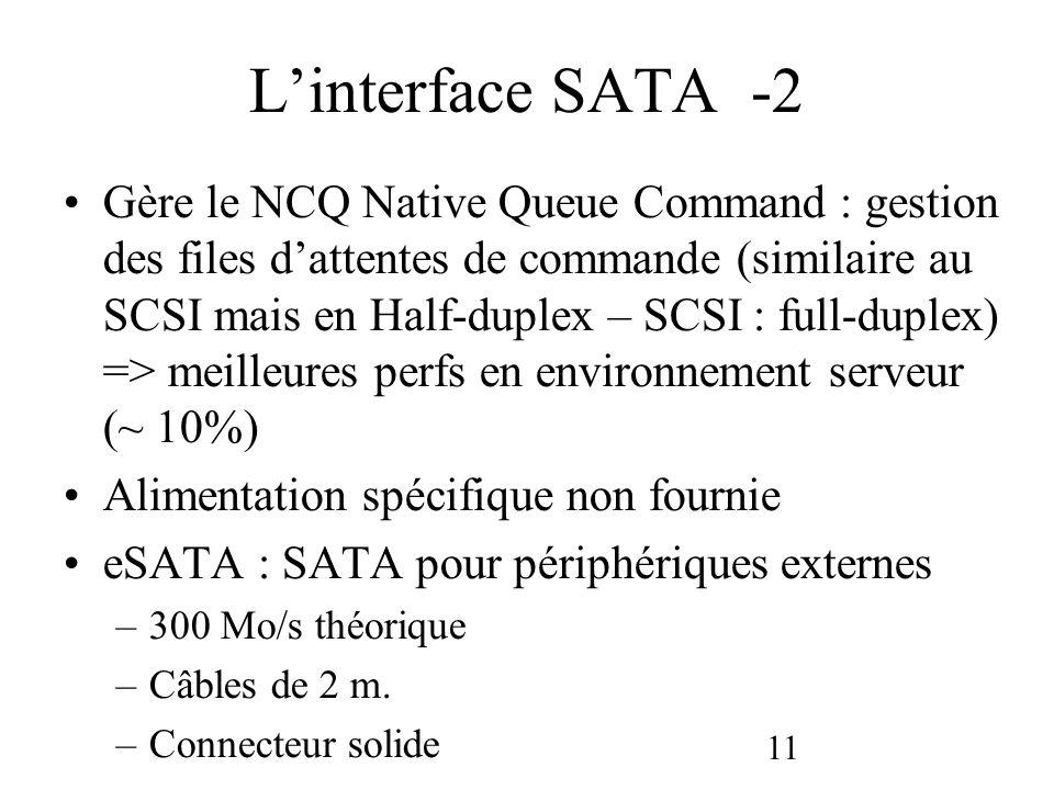 11 Linterface SATA -2 Gère le NCQ Native Queue Command : gestion des files dattentes de commande (similaire au SCSI mais en Half-duplex – SCSI : full-