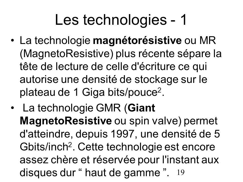 19 Les technologies - 1 La technologie magnétorésistive ou MR (MagnetoResistive) plus récente sépare la tête de lecture de celle d'écriture ce qui aut