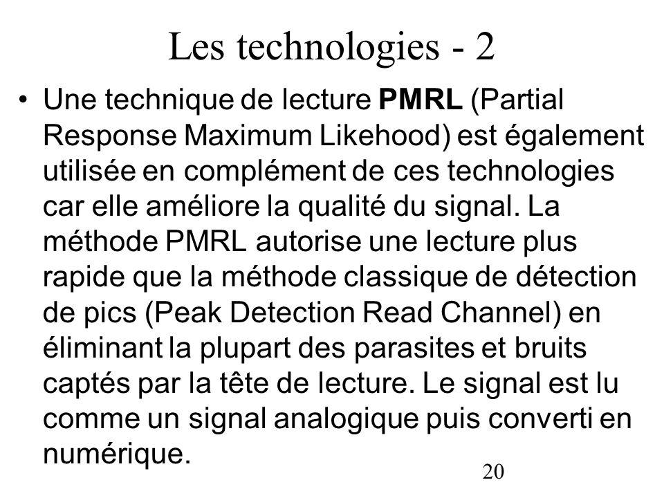20 Les technologies - 2 Une technique de lecture PMRL (Partial Response Maximum Likehood) est également utilisée en complément de ces technologies car
