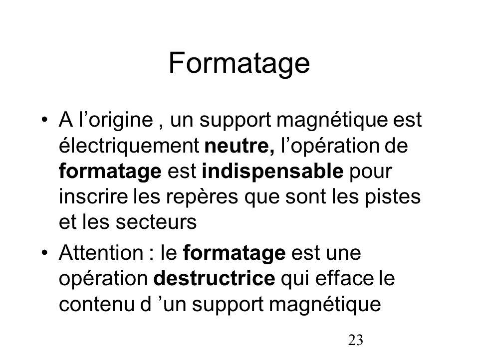 23 Formatage A lorigine, un support magnétique est électriquement neutre, lopération de formatage est indispensable pour inscrire les repères que sont