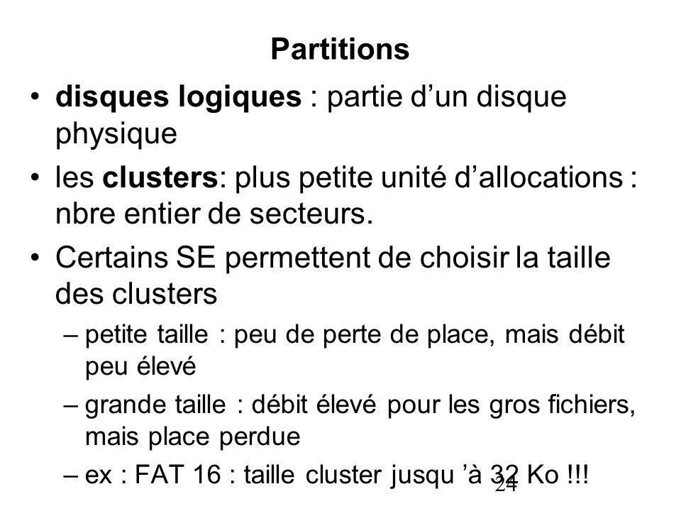 24 Partitions disques logiques : partie dun disque physique les clusters: plus petite unité dallocations : nbre entier de secteurs. Certains SE permet