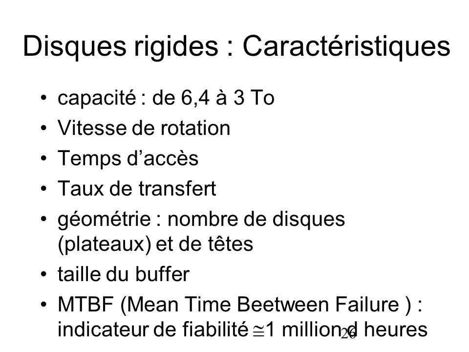 26 Disques rigides : Caractéristiques capacité : de 6,4 à 3 To Vitesse de rotation Temps daccès Taux de transfert géométrie : nombre de disques (plate