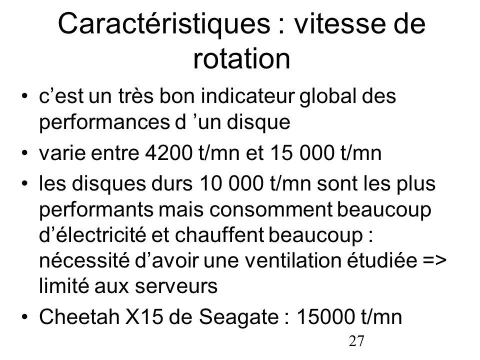 27 Caractéristiques : vitesse de rotation cest un très bon indicateur global des performances d un disque varie entre 4200 t/mn et 15 000 t/mn les dis