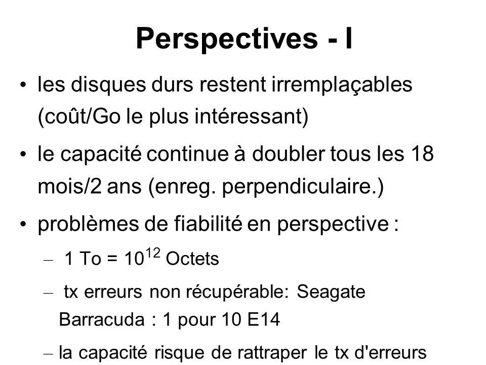 Perspectives - I les disques durs restent irremplaçables (coût/Go le plus intéressant) le capacité continue à doubler tous les 18 mois/2 ans (enreg. p